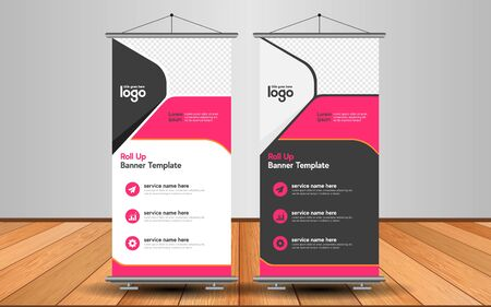 Modern Roll Up Banner. Advertising vector template design with colorful background. Graphic element.  イラスト・ベクター素材