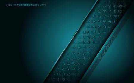 Abstract dark navy green with overlap texture layer background design. Graphic design element. Vettoriali