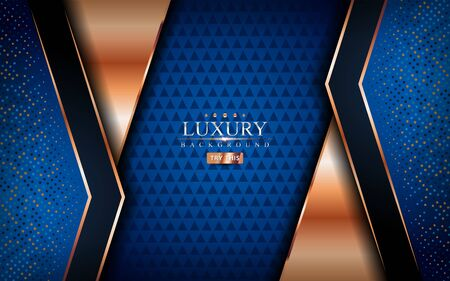 Luxury blue background with shinny golden lines. Graphic design element. Vetores