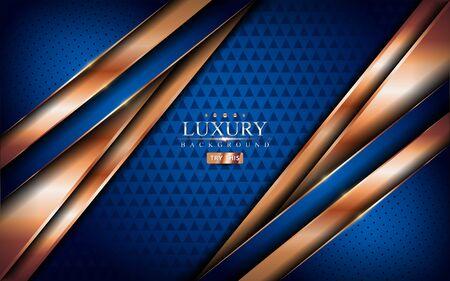 Luxury blue background with shinny golden lines. Graphic design element. Vector Illustratie