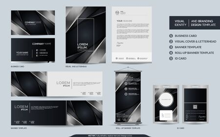 Luxury black and silver stationery mock up and visual brand identity set. Graphic design element.