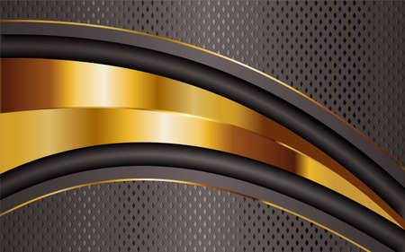 Creative luxury titanium bronze and golden lines background design. Graphic design template. Vettoriali