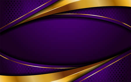 Creative luxury navy purple and golden lines background design. Graphic design template.