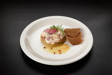 beef aspic with croutons on black background. 写真素材