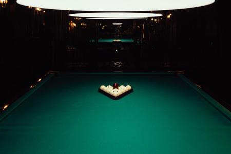 Billiards table with white balls. Billards pool game.