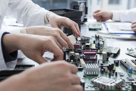 Équipe de conception de circuits électroniques Banque d'images