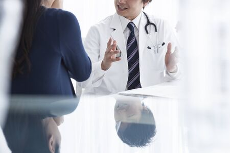 business management: Described male doctor Stock Photo