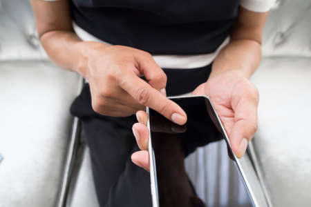 lose up: lose up of a man using mobile smart phone