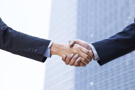 ビジネス ハンドシェイク、契約、成功、おめでとう。
