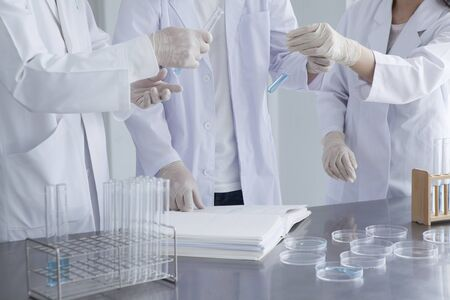 group of students working at the laboratory Stock Photo