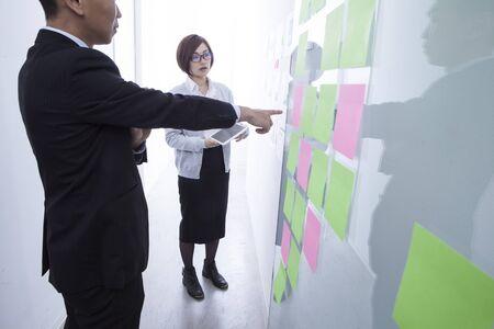 describes: Businessman describes a new project for women