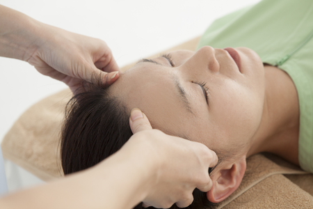 adult massage: Adult attractive woman receiving head massage