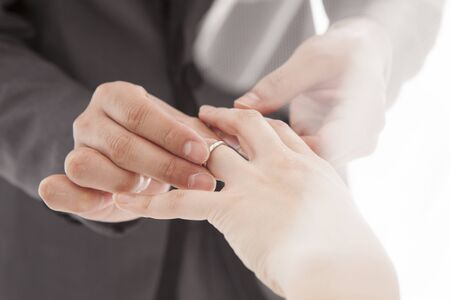 ring finger: Groom to fit a ring on the bride of the ring finger