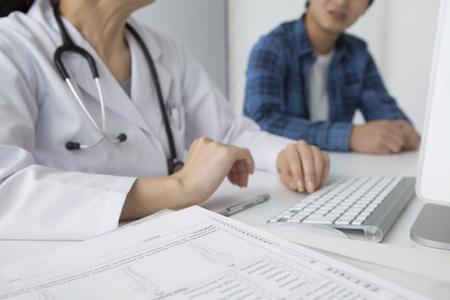 During examination female doctor