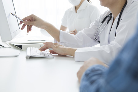 explained: The patient to be explained to the doctor Stock Photo