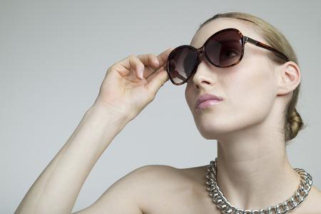 Sexy Woman Wearing Sunglasses, closeup portrait