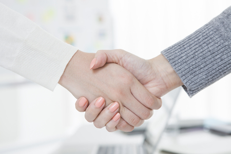 Shaking hands of two business people Standard-Bild