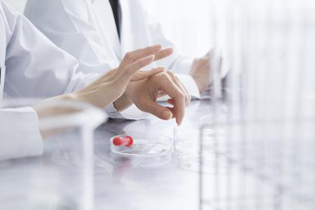 女性研究者の実験室での作業