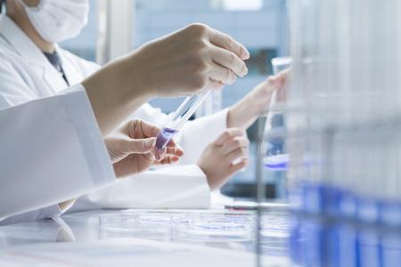 Les femmes chercheurs sont répétant l'expérience