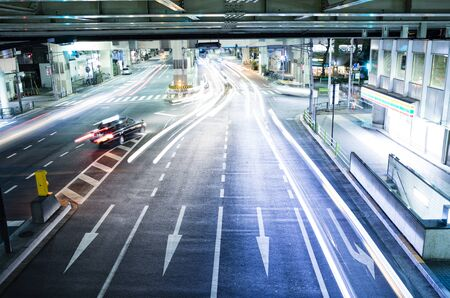 guardrails: Tokyo road at night Stock Photo