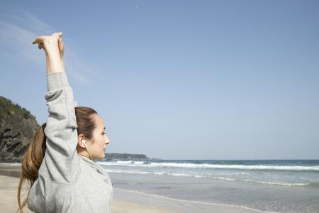 aire puro: La mujer Brown para aspirar el aire fresco