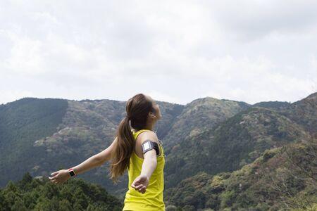 fresh air: Women who enjoy the fresh air nature Stock Photo