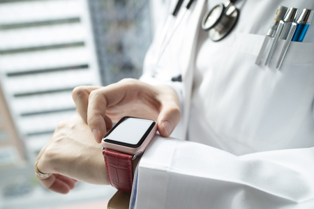 conspicuous: Smart watch, fashionable to shine a white coat.