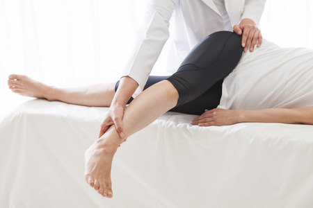 Tired of the day, Let's rest on the same day. Loosen the calf of tension. Stock Photo - 56246632