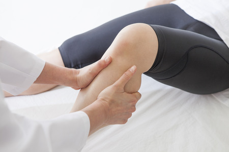loosen: Tired of the day, Lets rest on the same day. Loosen the calf of tension. Stock Photo