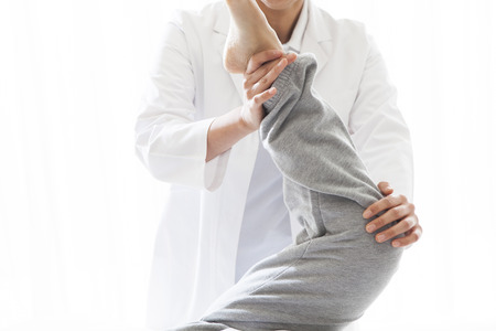 feels good: Loosen the calf of tension. Stock Photo
