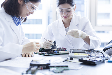 blue shirt: Technology made by small parts. Stock Photo
