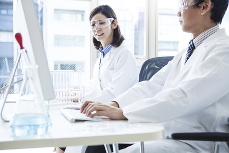 Scientists to discuss the research results of today. Stock Photo