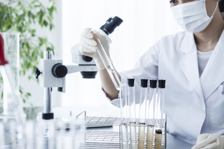 scientific researcher looking at a test tube in a laboratory. Foto de archivo