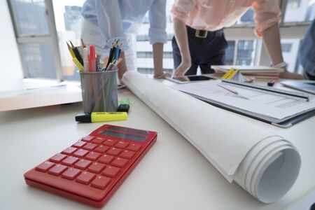 bisiness: Close-up picture of ruler and pencil stand. Stock Photo