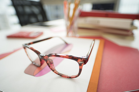 Close-up picture of red glasses. Stock Photo