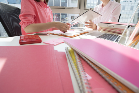 bisiness: Close-up photograph of pink document.