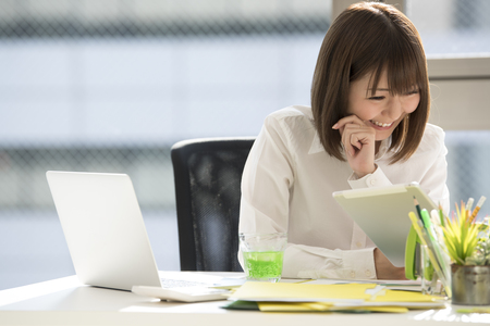 Close-up pictures of business women who work. Stock Photo