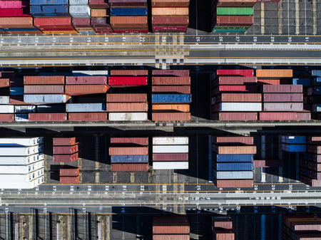 Aerial view of cargo containers. Stock Photo