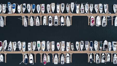 Aerial photograph of many fishing boats. 写真素材
