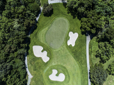 Aerial photograph of a forest and golf course. 写真素材