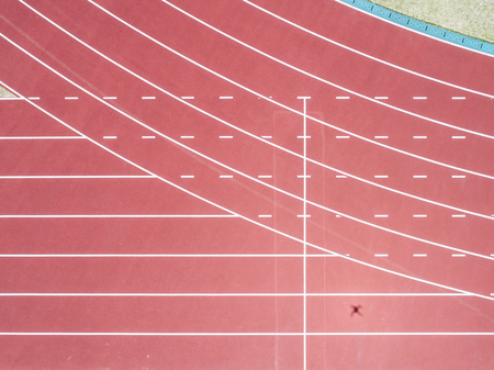 The running course of the stadium. Viewpoint from directly above. Banco de Imagens
