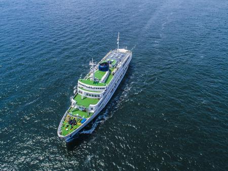 Aerial shooting of passenger ships. 免版税图像