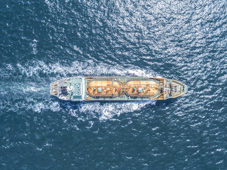 Aerial shooting of a fuel transport ship. Sea route.