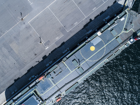 Aerial shooting of a large military ship to anchor. Reklamní fotografie