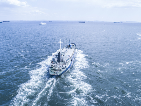 Aerial view of the sea and a big ship. Horizon. Stock Photo
