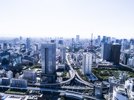 Aerial photograph of the highway crossing the city landscape in Tokyo. Stock fotó - 104208886