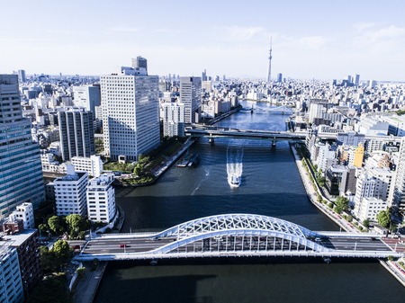 Tokyo seen from above. City scenery with river. Tokyo seen from above. City scenery with river. Zdjęcie Seryjne