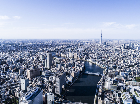 Tokyo seen from above. City scenery with river.