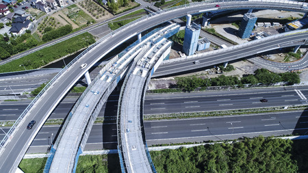 An aerial photograph of a highway under construction. Beautiful curve. Zdjęcie Seryjne