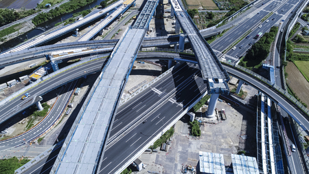 Aerial photograph of elevated road under construction. A large circular road. Zdjęcie Seryjne